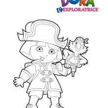Coloriage de Dora habillée en pirate