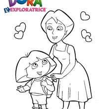 Coloriage de Dora et sa Maman