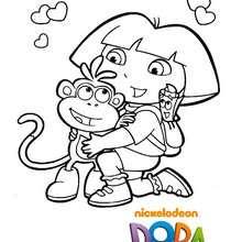 Coloriage de Babouche dans les bras de Dora - Coloriage - Coloriage DORA - Coloriage BABOUCHE