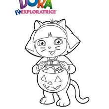 Coloriage de Dora déguisée pour Halloween