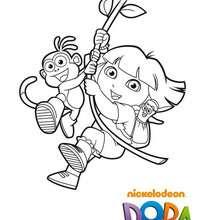 Coloriage de Dora imitant Tarzan - Coloriage - Coloriage DORA - Coloriages DORA