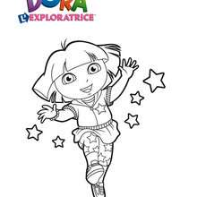 Coloriage de Dora et les étoiles - Coloriage - Coloriage DORA - Coloriages DORA