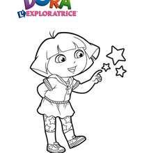 Coloriage de Dora et ses amies les étoiles - Coloriage - Coloriage DORA - Coloriages DORA