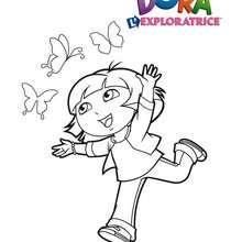 Coloriage de Dora et les papillons - Coloriage - Coloriage DORA - Coloriages DORA