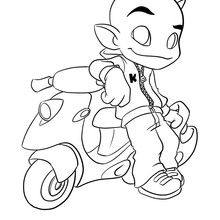 Coloriage Kamafun Toom et son scooter