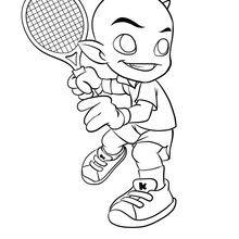 Coloriage Kamafun Toom joue au tennis - Coloriage - Coloriage A IMPRIMER - Coloriage A IMPRIMER KAMAFUN - Coloriage Kamafun Toom