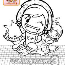 Coloriage de Cooking Mama en cuisine
