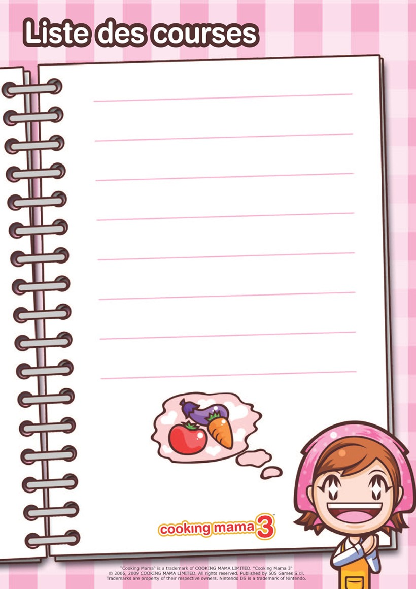 Coloriages la liste de courses de cooking mama fr - Liste de course a imprimer ...
