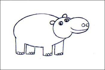 Comment Dessiner Un Hippopotame Fr Hellokids Com