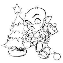 Coloriage Kamafun Toom et le sapin de Noël - Coloriage - Coloriage A IMPRIMER - Coloriage A IMPRIMER KAMAFUN - Coloriage Kamafun Toom