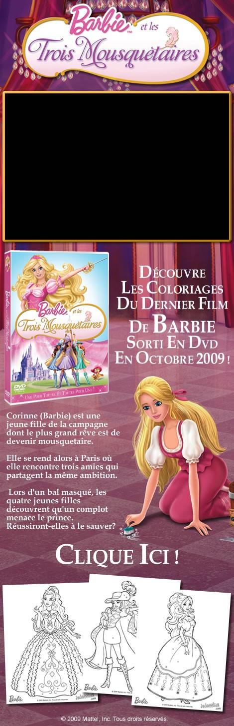Les coloriages de barbie et les 3 mousquetaires en - Barbie et les 3 mousquetaires ...