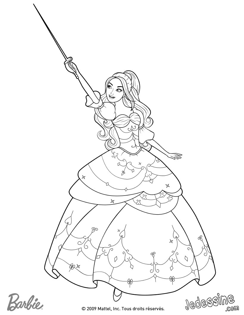 Barbie three musketeers on pinterest barbie coloring - Barbie a colorier ...