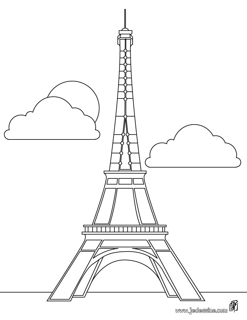 Coloriages Coloriage De La Tour Eiffel A Paris Fr Hellokids Com