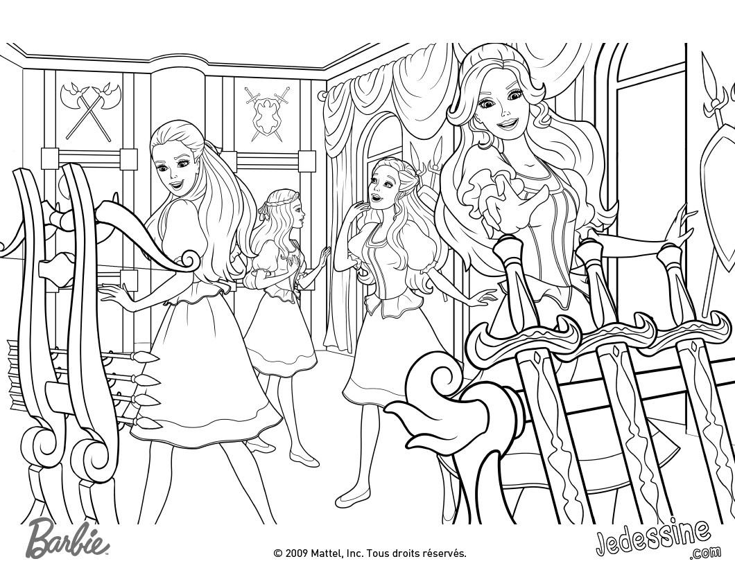 Coloriages coloriage de barbie et ses amies dans la salle des armes - Image de violetta et ses amies ...