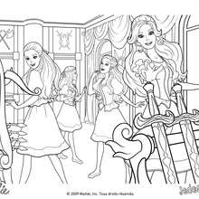 Coloriage Barbie : Coloriage de Barbie et ses amies dans la salle des armes