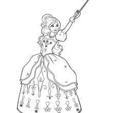 Coloriage Barbie : Coloriage d'Aramina en robe et avec son épée
