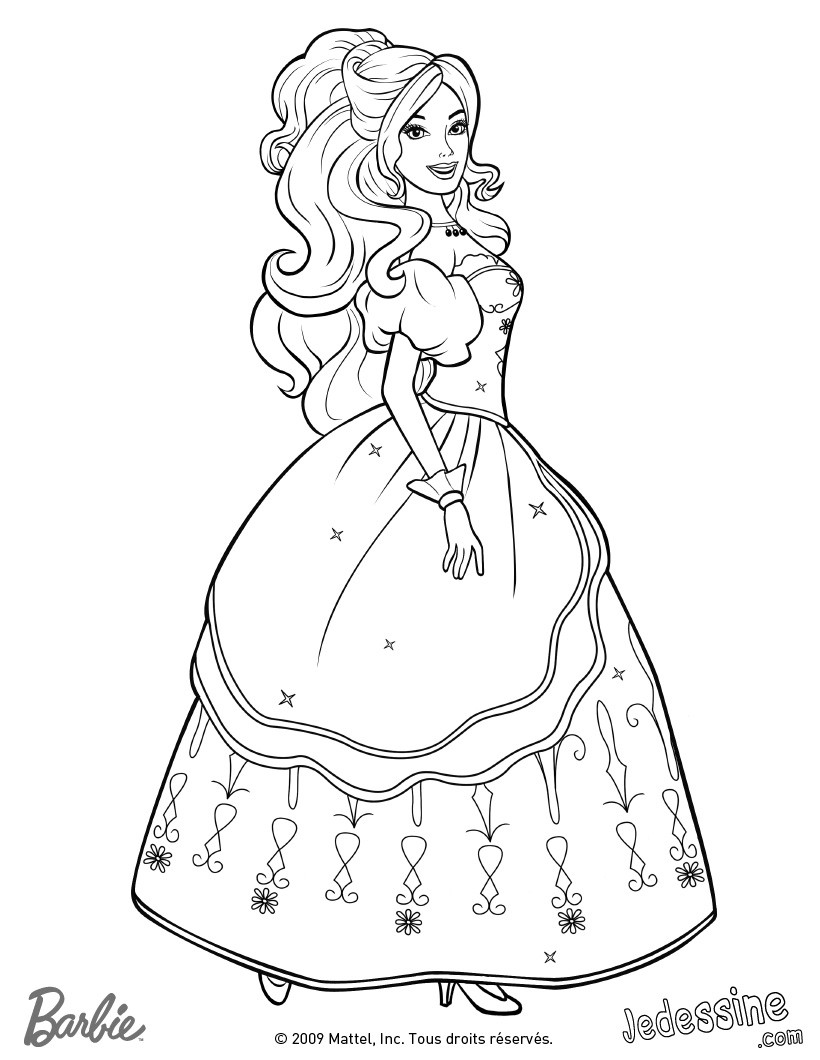 Coloriages coloriage d 39 aramina en robe de bal - Barbie princesse coloriage ...