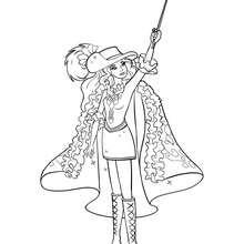 Coloriage d'Aramina levant son épée - Coloriage - Coloriage BARBIE - Coloriage BARBIE ET LES 3 MOUSQUETAIRES - Coloriage ARAMINA