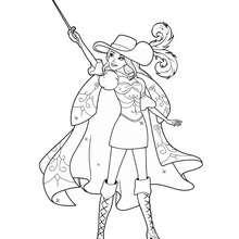 Coloriage Barbie : Coloriage de Corinne tendant son épée vers le ciel