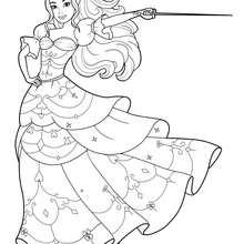 Coloriage Barbie : Coloriage de Corinne en robe de bal avec son épée