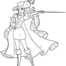 Coloriage Barbie : Coloriage de Corinne avec son chapeau sa cape et son épée