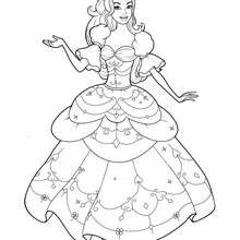Coloriage Barbie : Coloriage de Corinne dans sa belle robe 2