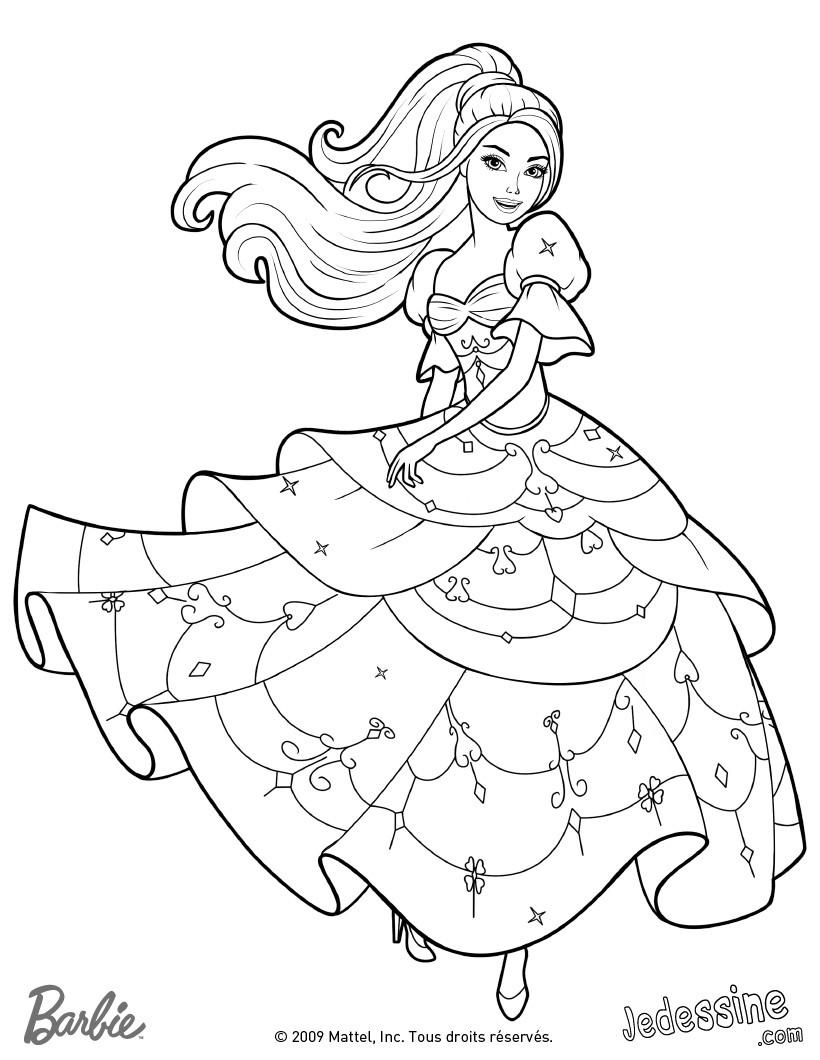 coloriage barbie coloriage de corinne dans sa belle robe 3