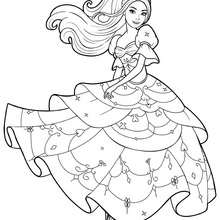 Coloriage Barbie : Coloriage de Corinne dans sa belle robe 3