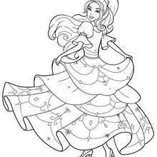 Coloriage Barbie : Coloriage de Corinne dans sa belle robe 4