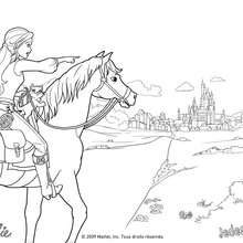 Coloriage Barbie : Coloriage de Corinne à cheval aux portes de Paris