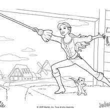 Coloriage Barbie : Corinne et Miette s'entraînent à manier l'épée