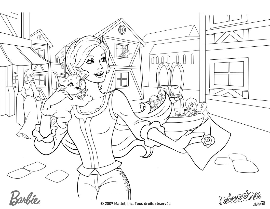 Coloriages Coloriage De Corinne Avec Son Chat Miette