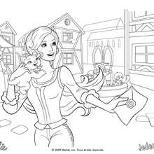 Coloriage Barbie : Coloriage de Corinne avec son chat Miette