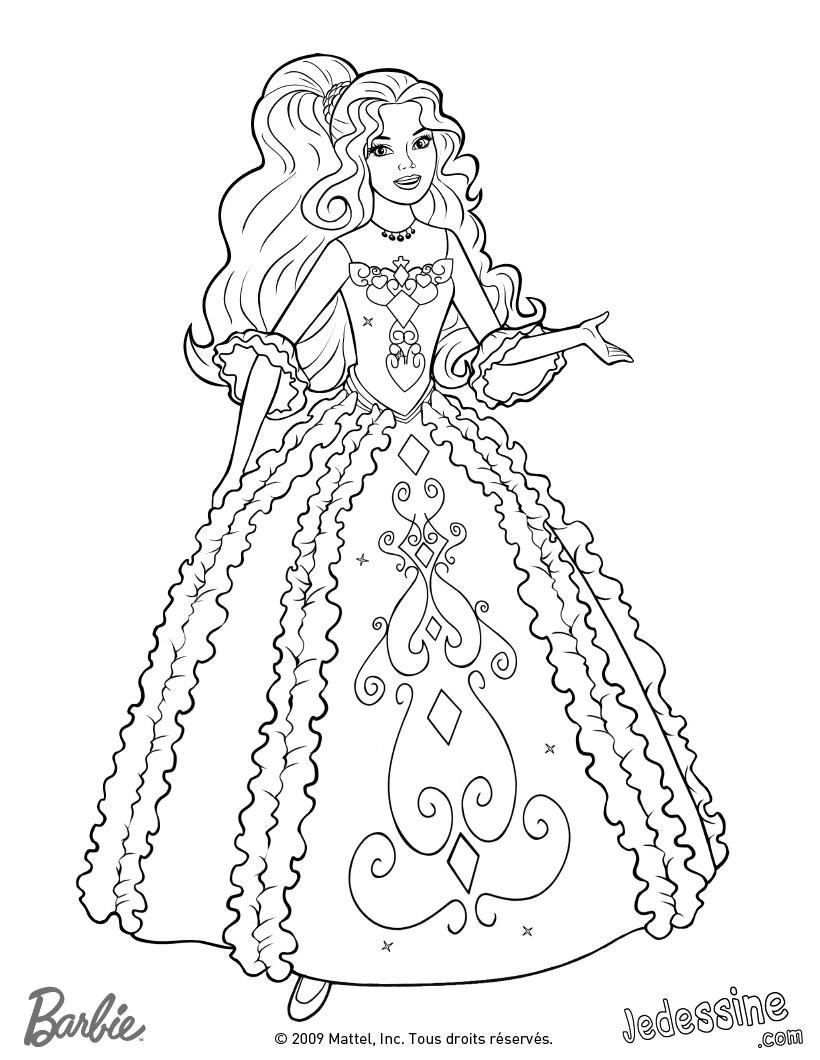 Coloriage Barbie Coloriage de Renée dans sa belle robe
