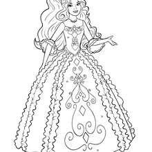 Coloriage Barbie : Coloriage de Renée dans sa belle robe