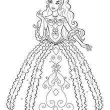 Coloriage Barbie : Coloriage de Renée dans sa belle robe 2