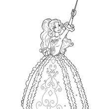 Coloriage Barbie : Coloriage de Renée brandissant son épée 2
