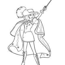 Coloriage Barbie : Coloriage de Renée brandissant son épée