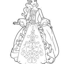 Coloriage Barbie : Coloriage de Viveca dans sa belle robe 3