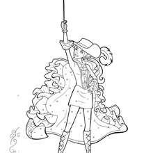 Coloriage de Viveca brandissant son épée