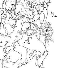 Coloriage d'une indienne à la cime d'un arbre - Coloriage - Coloriage A IMPRIMER - Coloriage A IMPRIMER PERSONNAGES - Coloriage de PERSONNAGES HISTORIQUES