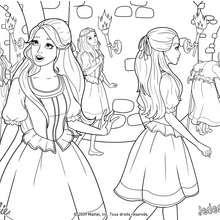 Coloriage des filles à la découverte du château - Coloriage - Coloriage BARBIE - Coloriage BARBIE ET LES 3 MOUSQUETAIRES - Coloriage BARBIE A IMPRIMER
