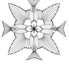 Mandala : Coloriage de colibris formant une fleur