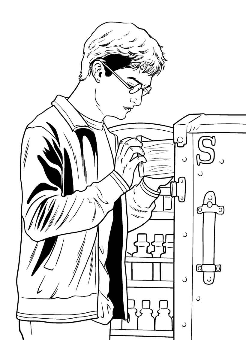 Voldemort Coloriage Harry Potter L armoire   potions