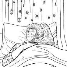 Coloriage Harry Potter : Ron dans son lit