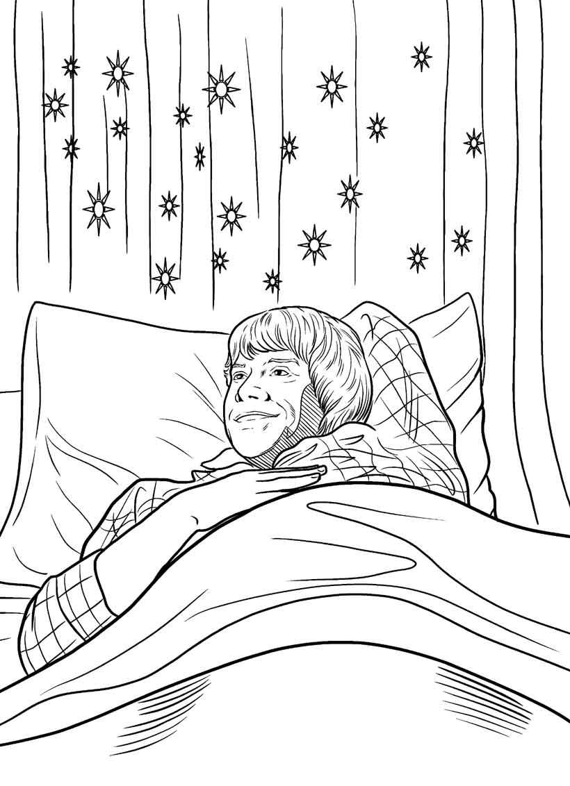 coloriages ron dans son lit. Black Bedroom Furniture Sets. Home Design Ideas