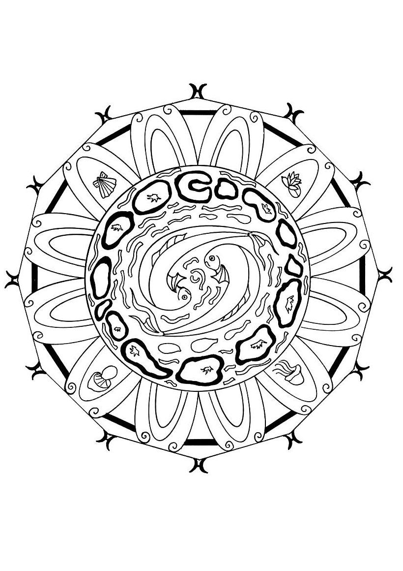 Mandala : Coloriage de l'energie de l'eau