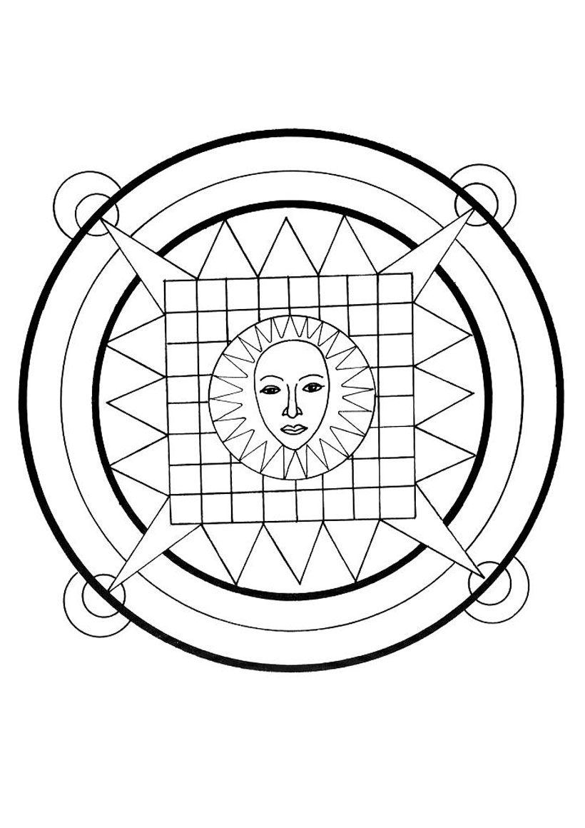 Mandala : Coloriage du soleil