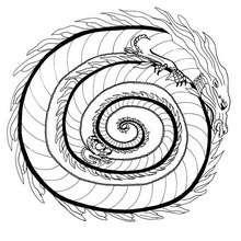 Mandala : Coloriage du dragon de feu