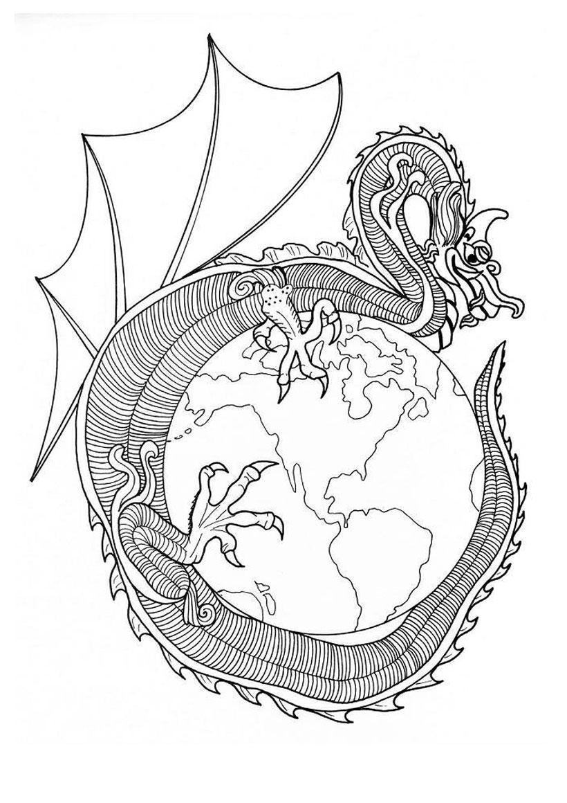 Coloriage du dragon du Monde Coloriage Coloriage MANDALA MANDALAS DE DRAGONS  colorier